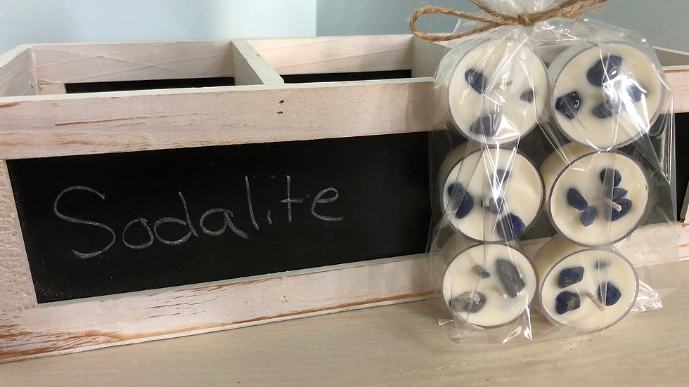 Soy Tea Light Candles with Reiki Charged Sodalite Crystals