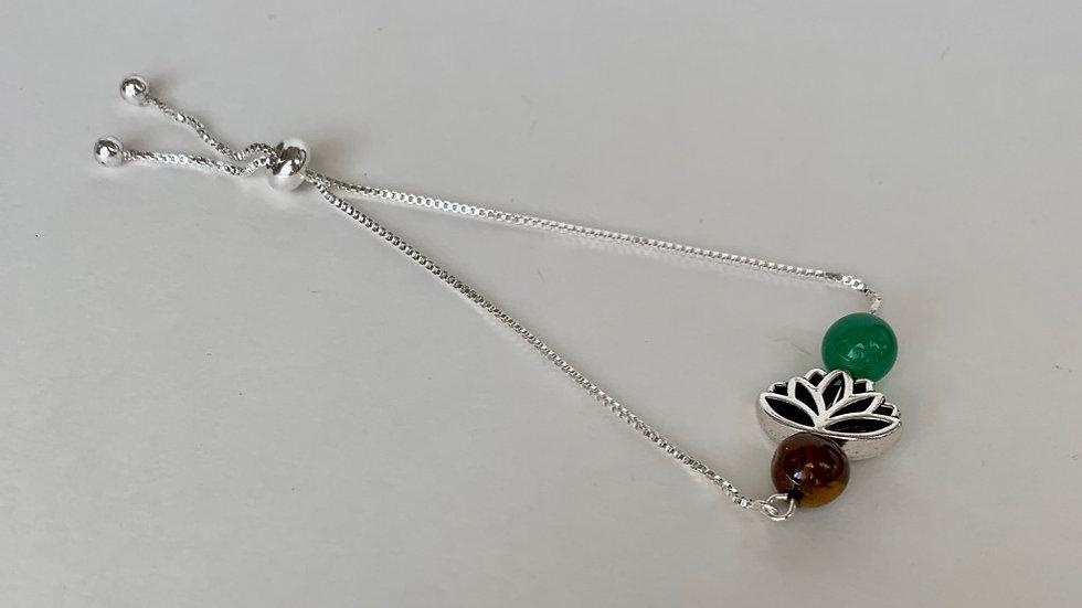 Green Aventurine/Lotus Flower/Tiger's Eye Adjustable Bracelet