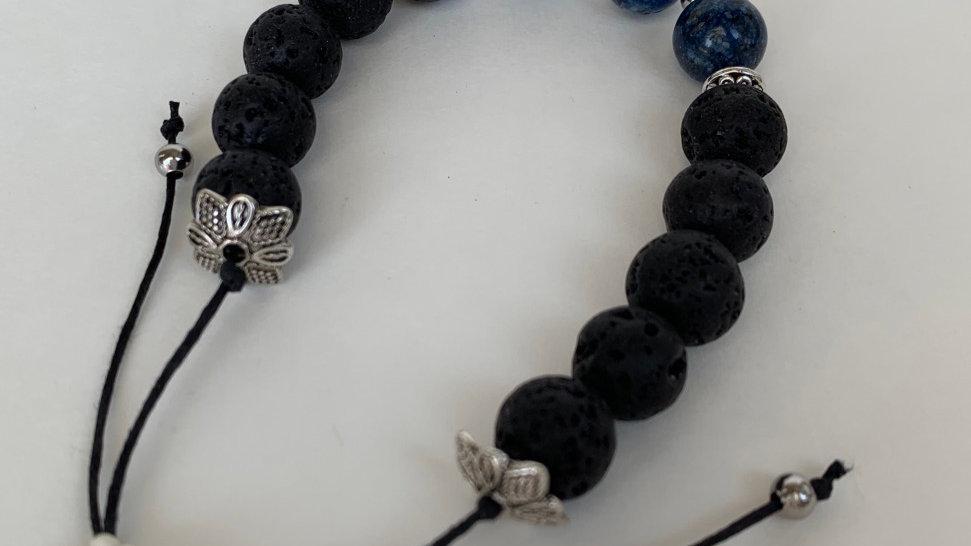Lapis Lazuli/Black Lava Stone Adjustable Bracelet