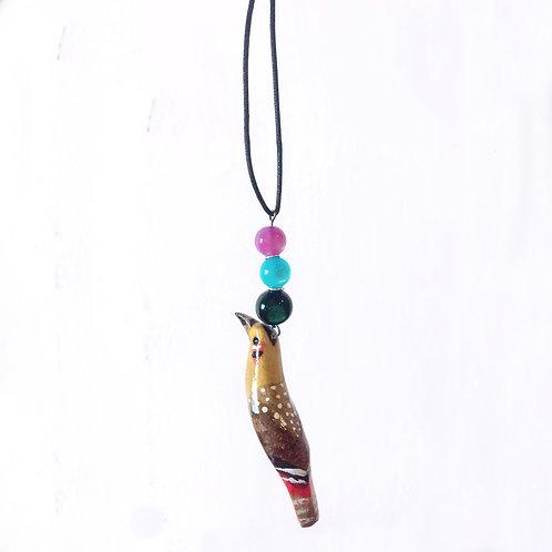 彩繪雀仔吊墜  Wooden  Bird Necklace