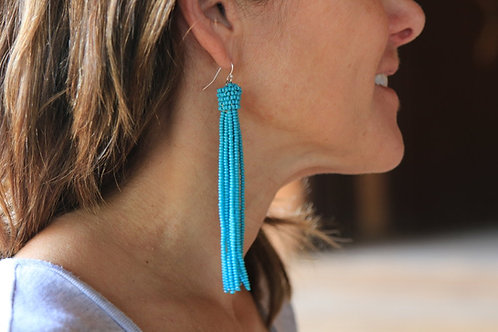 肯亞流蘇耳環 Kenyan Dangle Earrings (Blue)