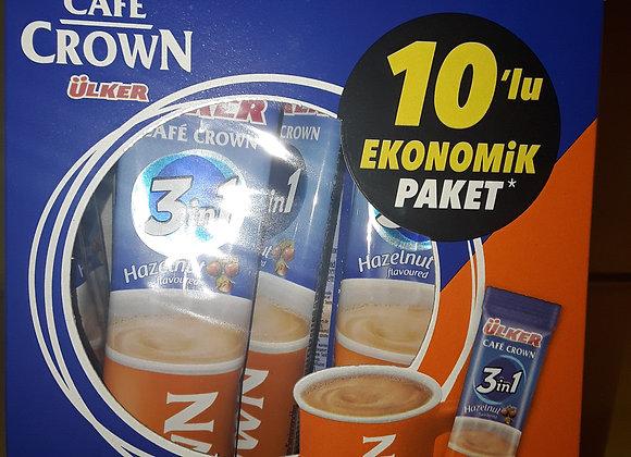 Ulker Crown, Kaffe, 3-I-1, Hasselnødder Multipak 10x18g