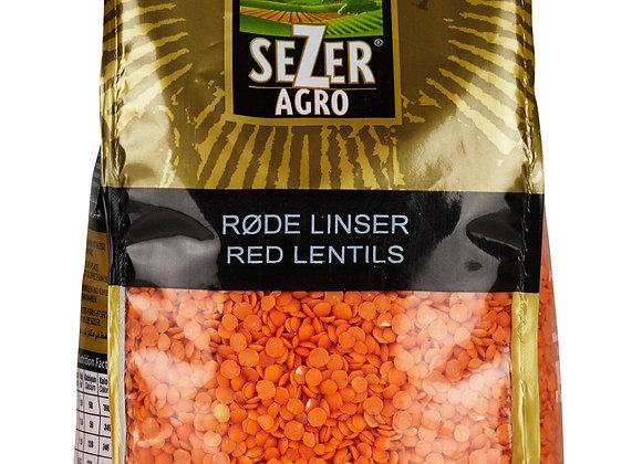 """SEZER RØDE LINSER """"SPLIT"""", 12X900 G STÅPOSE"""
