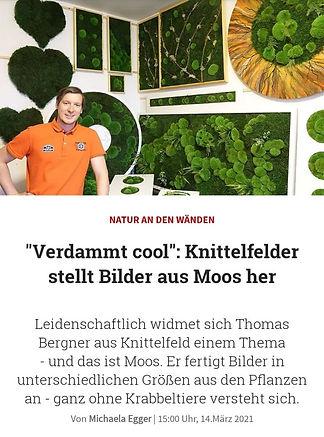 Zeitungsartikel Thomas Bergner Moosbilder