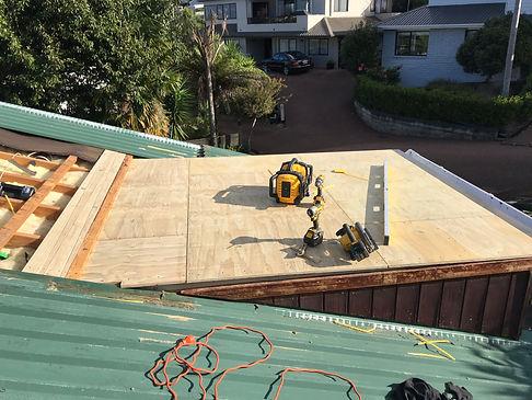 Membrane roof replacement progress photo