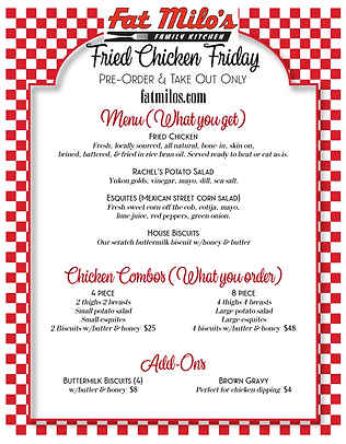 Fat Milo's Fried Chicken Friday Menu