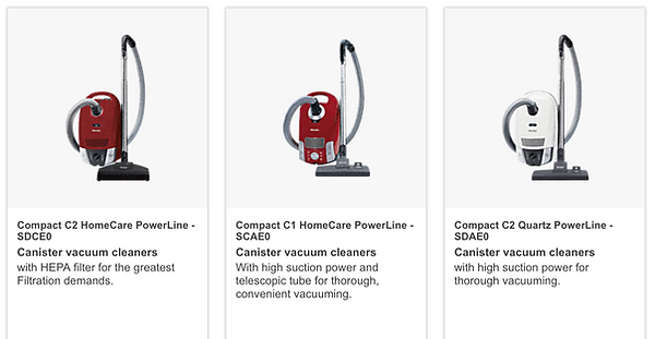 Miele Compact Canister vacuum cleaners