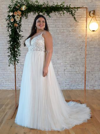 7340 by Stella York   V-NECKLINE PLUS-SIZE WEDDING DRESS WITH FLORAL DETAILS