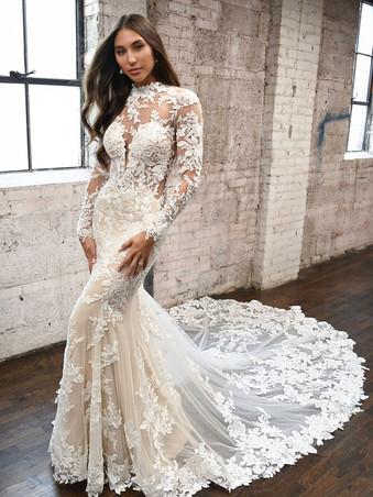 1334 Martina Liana | Long Sleeve High Neck Lace Wedding Dress