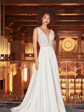 2358 by Mikaella   Simple Lace and Crepe A-line