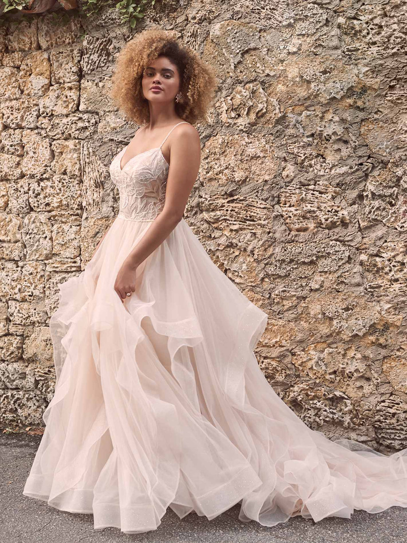 Timbrey by Maggie Sottero | Flirty Tiered Ballgown