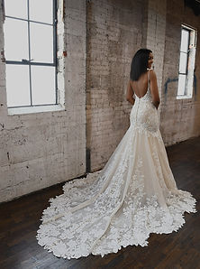 1301 Martina Liana Sexy fit & flare wedding dress with lace and sparkle. Open back, straps