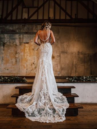 D3238 by Essense of Australia | Boho Graphic Lace Wedding Dress
