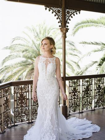 D3153 by Essense of Australia | High Neck Lace Wedding Dress