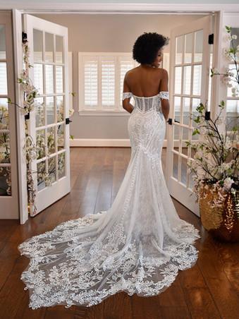 D3308 by Essense of Australia | Off the Shoulder Lace Wedding Dress