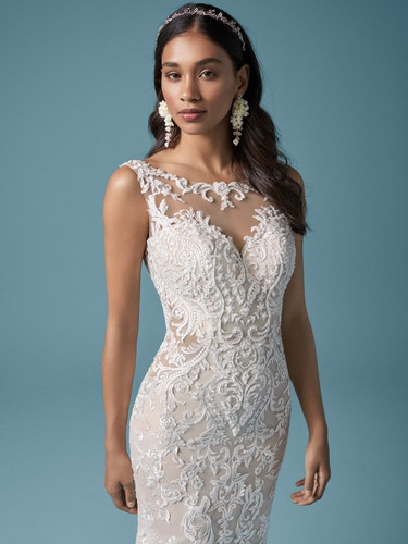 Lydia Anne by Maggie Sottero | High Neck Lace and Illusion Sexy Wedding Dress | Rebecca's