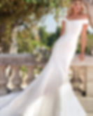 Modern off shoulder wedding dress at Rebecca's