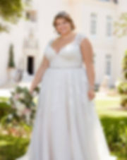 Lace straps plus size wedding dress 6391 by Stella York at Rebecca's Louisville