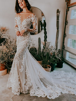 D3284 Essense of Australia | Sexy Off-Shoulder long sleeve lace wedding dress at Rebecca's (Louisville, KY)