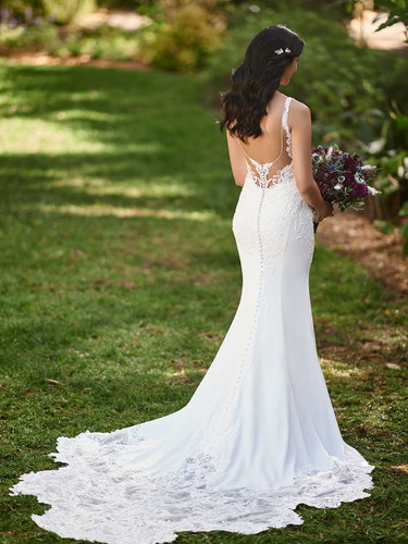 D3144 by Essense of Australia | Sexy Crepe and Lace Wedding Dress | Rebecca's
