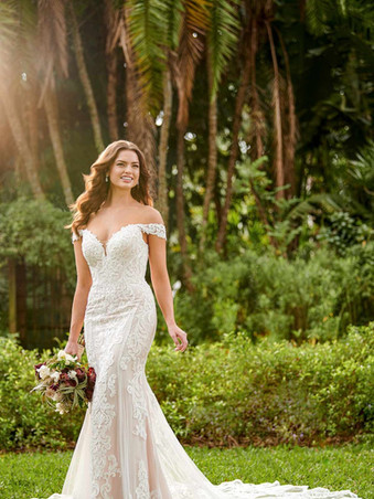D3114 by Essense | Off The Shoulder Lace Wedding Dress | Rebecca's