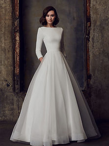 2308 Mikaella Classic Ballgown Wedding Dress with Satin Long Sleeves and romantic full skirt with pockets