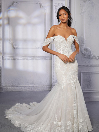 Circe by Morilee | Sexy Boho Lace Off-the-Shoulder Wedding Dress