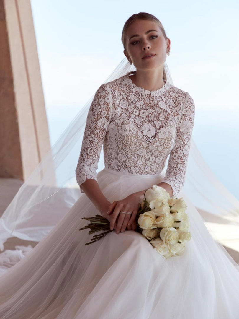 Frederique by Watters | Vintage Long Sleeve Lace Wedding Dress | Rebecca's