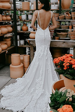D3263 Essense of Australia | Sexy low back lace and crepe wedding dress at Rebecca's (Louisville, KY)
