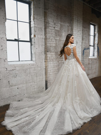 1371 by Martina Liana   DRAMATIC SPARKLING BALLGOWN WITH LACE DETAILS AND KEYHOLE BACK