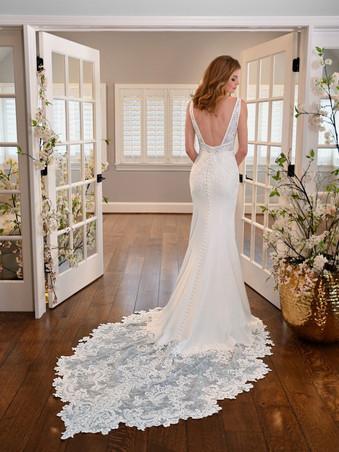 D3254 by Essense of Australia   SIMPLE V-NECKLINE WEDDING DRESS WITH LACE APPLIQUE-TRAIN