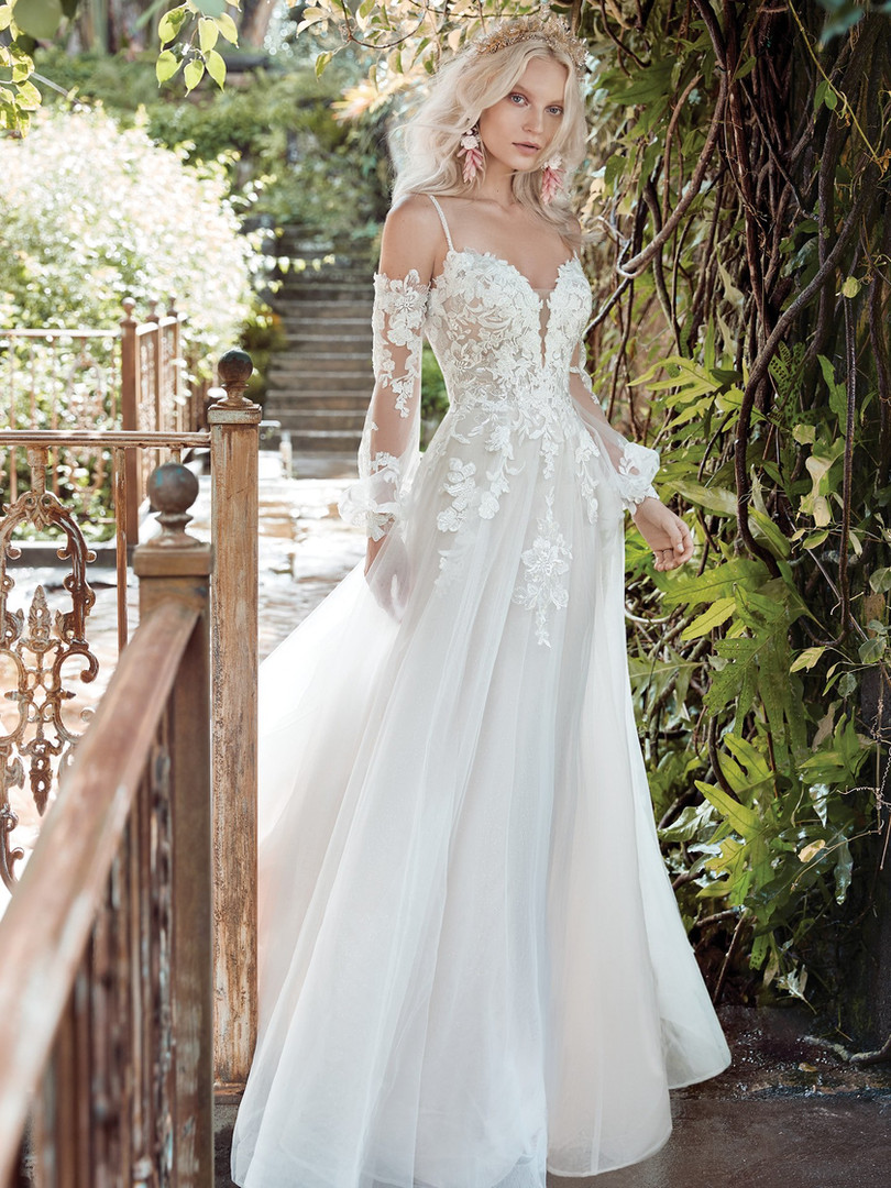 Stevie by Maggie Sottero | Boho Off-the-Shoulder Long Sleeve Wedding Dress | Rebecca's