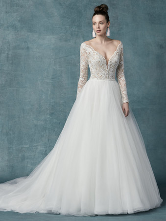 Maggie Sottero Mallory Dawn | Long Sleeve Ballgown