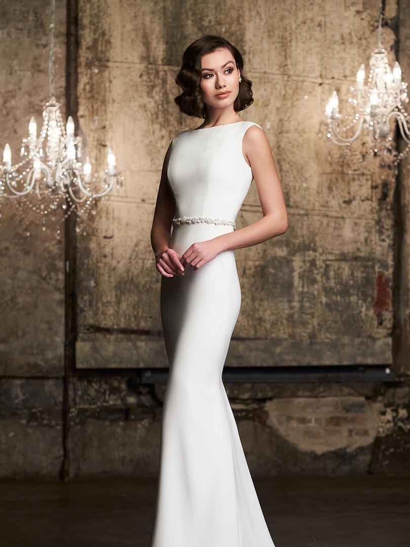 2305 Mikaella | Bateau Crepe Wedding Dress