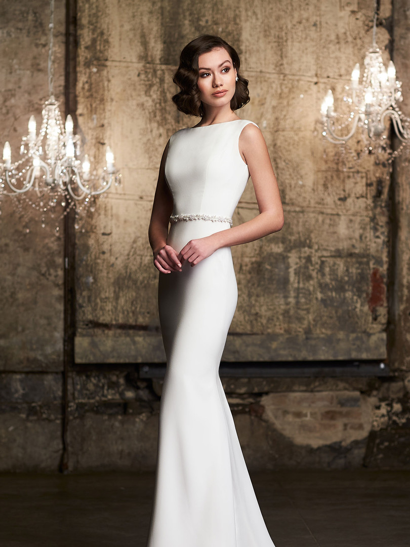 2305 Mikaella | Bateau Crepe Wedding Dress