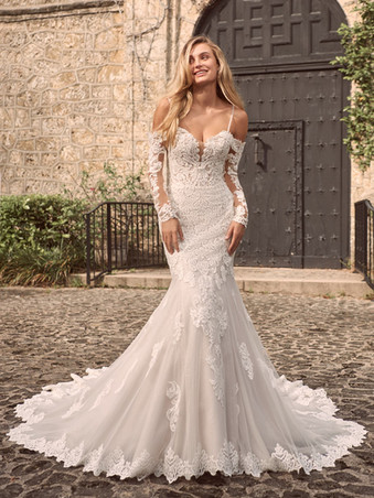 Fiona by Maggie Sottero | Unique Off the Shoulder Long Sleeve