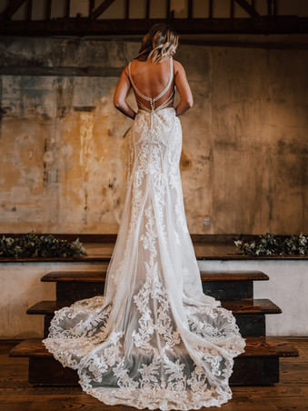 D3238 by Essense of Australia   LACE COLUMN WEDDING DRESS WITH BEADED EMBELLISHMENTS