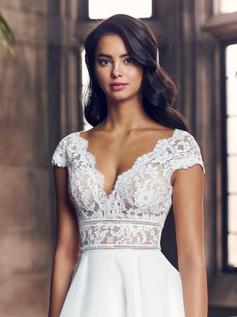 4904 by Paloma Blanca | Cute, Lace Cap Sleeve Wedding Dress