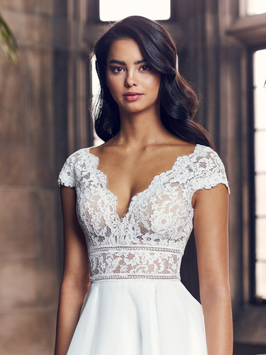 4904 by Paloma Blanca | Cute, Lace Cap Sleeve Wedding Dress