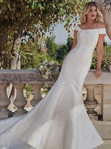 Modern Off The Shoulder Satin Wedding Dress. Simple, elegant, fitted