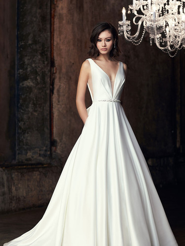 2306 by Mikaella | Simple Duchesse Satin Wedding Dress with Bow | Rebecca's