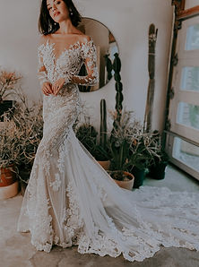 D3284 Essense of Australia Long Sleeve Lace. Off The Shoulder Sexy fitted wedding dress with boho floral design