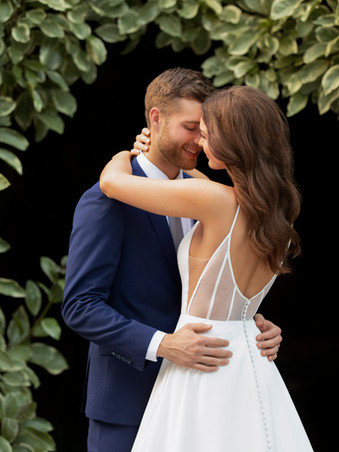 D3080 by Essense of Australia | Simple Satin Ballgown with Sheer Back | Rebecca's