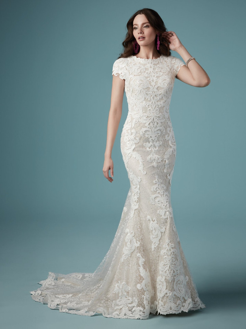 Tuscany Leigh by Maggie Sottero   Modest Lace Cap Sleeve Wedding Dress