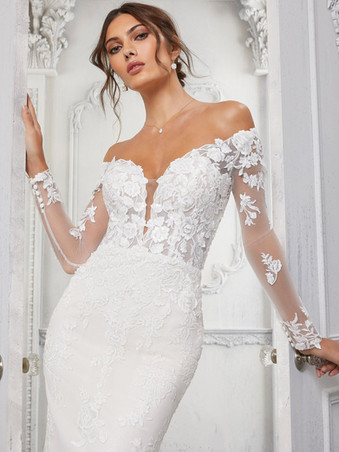 Cindy by Morilee | Off the Shoulder Long Sleeve Wedding Dress