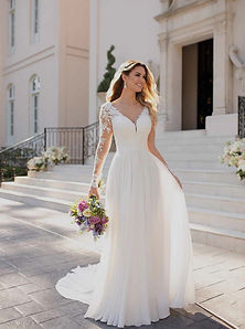 6843 Stella York Long Sleeve A-line Wedding Dress with Lace