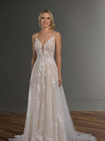 1137 Martina Liana | Beaded Floral Lace A-line
