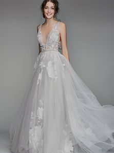 Galatea by Willowby from Watters. Boho Sexy Floral Lace wedding dress with plunging neckline