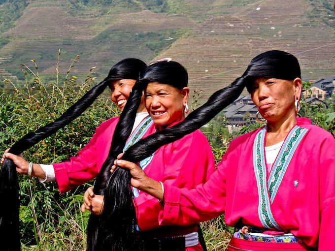 Rice water for hair growth. Yao women demonstrating their shiny, silky long hair. #longhair #ricewater