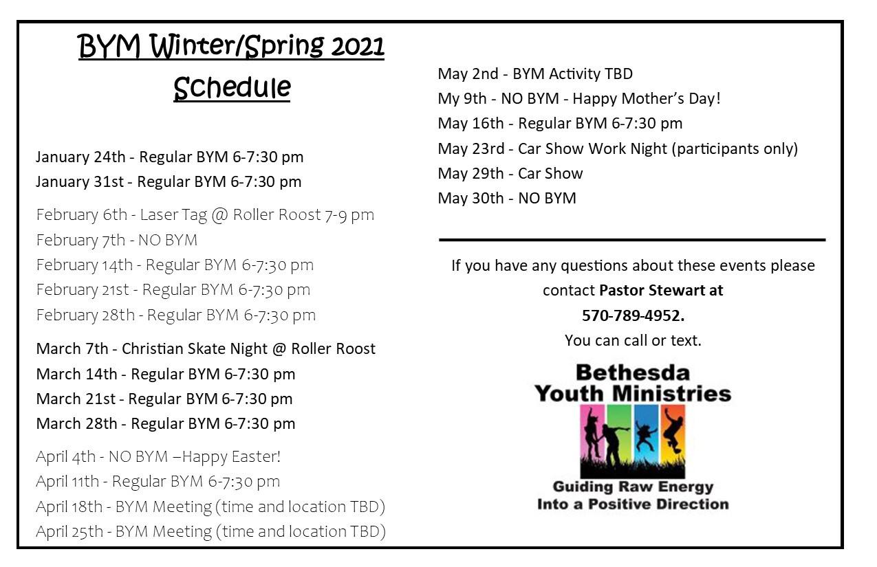 BYM 2021 Winter Spring Schedule